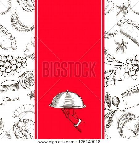 Restaurant seamless pattern with hand drawing vector illustrations of serving dish. Design template for menu cover