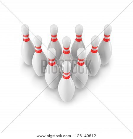 Group of Bowling Pins Isolated on White Background with shadow. 3D rendering. 3d render. For logo, advertising, wallpaper, print etc. Perspective view