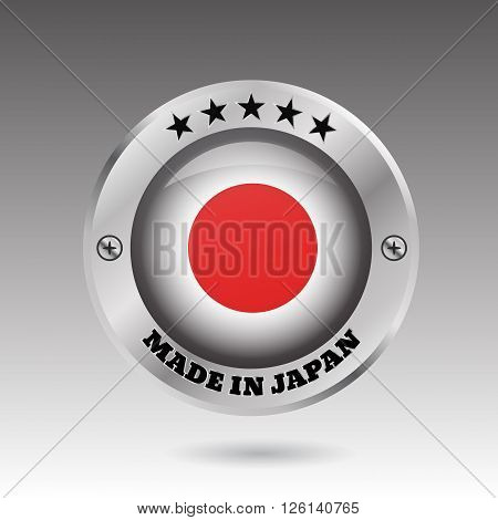 Made in Japan silver badge button flag symbol vector eps 10 illustration