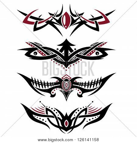 Masculine tribal red and black, vector set design elements.