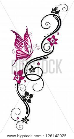 Feminine Tribal with flowers and butterfly, black and pink.