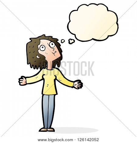 cartoon curious woman looking upwards with thought bubble