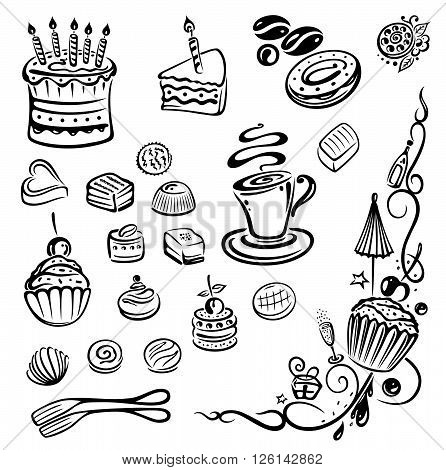 Vector set, coffee, cakes, sweets and pralines.