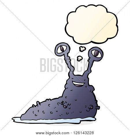cartoon slug with thought bubble