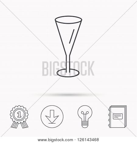 Champagne glass icon. Goblet sign. Alcohol drink symbol. Download arrow, lamp, learn book and award medal icons.
