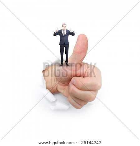 Thumbs up on white