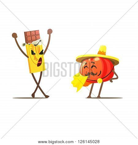 Chocolate Against Tomato Cartoon Fight Flat Vector Funny Illustration In Childish Style On White Background
