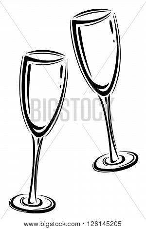 Set of sparkling wine glasses, black vector.
