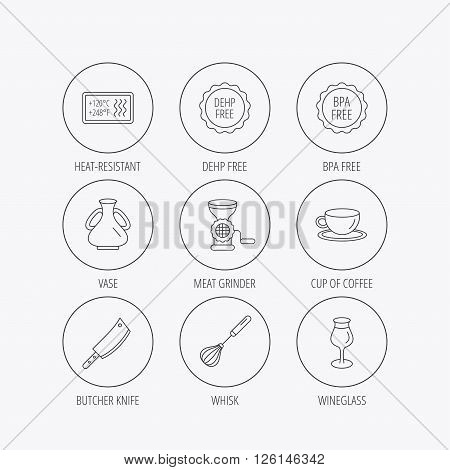 Coffee cup, butcher knife and wineglass icons. Meat grinder, whisk and vase linear signs. Heat-resistant, DEHP and BPA free icons. Linear colored in circle edge icons.