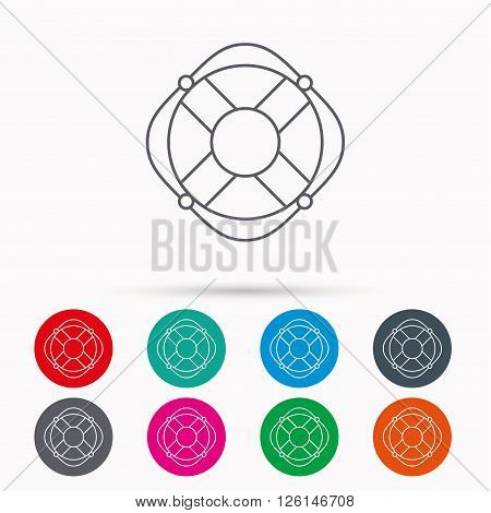 Lifebuoy with rope icon. Lifebelt sos sign. Lifesaver help equipment symbol. Linear icons in circles on white background.