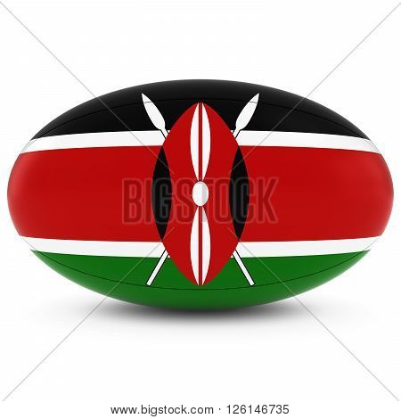 Kenya Rugby - Kenyan Flag On Rugby Ball On White