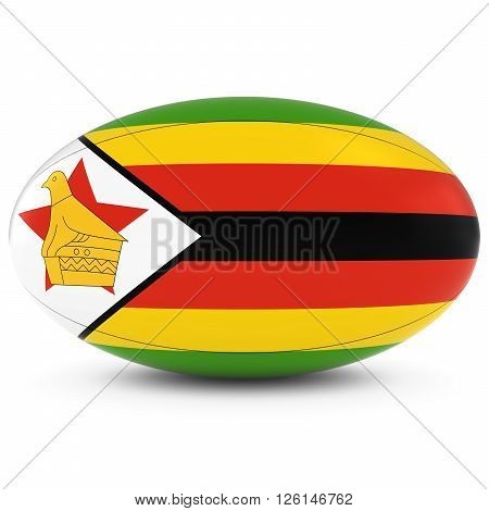 Zimbabwe Rugby - Zimbabwean Flag On Rugby Ball On White