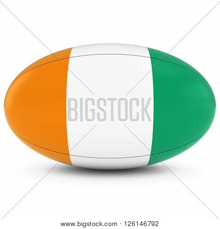 Cote D'ivoire Rugby - Ivorian Flag On Rugby Ball On White