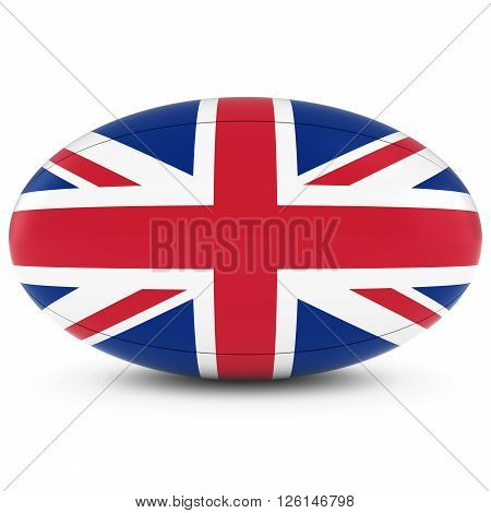 Uk Rugby - British Flag On Rugby Ball On White