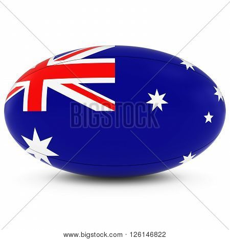 Australia Rugby - Australian Flag On Rugby Ball On White