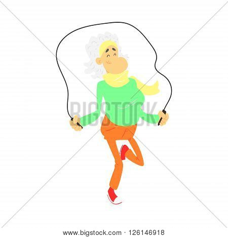 Old Lady With Skip Rope Cute Cartoon Style Isolated Flat Vector Illustration On White Background