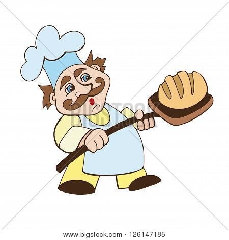 baker with bread baked with cap vektor illustration