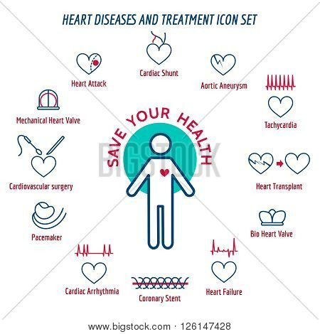 Heart health. Human Heart Disease and Heart Attack Symptoms. Vector illustration
