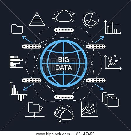 Big data concept. Big data icons connected in circle map. Vector illustration