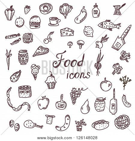 Handdrawn food icons funny style set - vector illustration