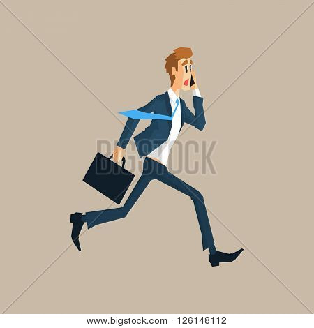 Office Worker Running Late Primitive Geometric Cartoon Style Flat Vector Design Isolated Illustration