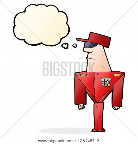 cartoon guard with thought bubble