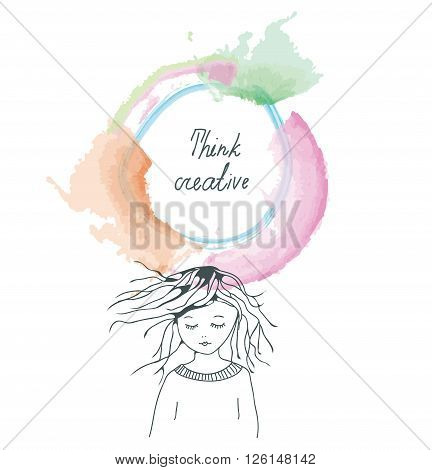 Creative thinking concept background with girl and frame - vector illustration