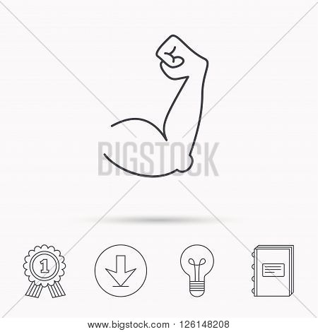 Biceps muscle icon. Bodybuilder strong arm sign. Weightlifting fitness symbol. Download arrow, lamp, learn book and award medal icons.