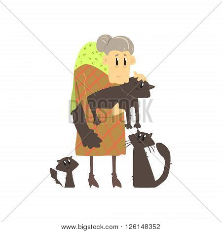 Old Lady With Three Cats Flat Isolated Vector Simple Drawing On White Background In Funny Cartoon Style