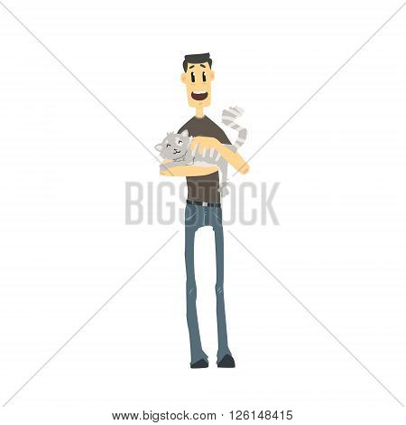 Guy With Fluffy Cat Flat Isolated Vector Simple Drawing On White Background In Funny Cartoon Style
