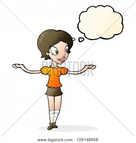 cartoon woman with arms spread wide with thought bubble