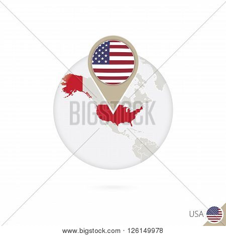 Usa Map And Flag In Circle. Map Of Usa, Usa Flag Pin. Map Of Usa In The Style Of The Globe.