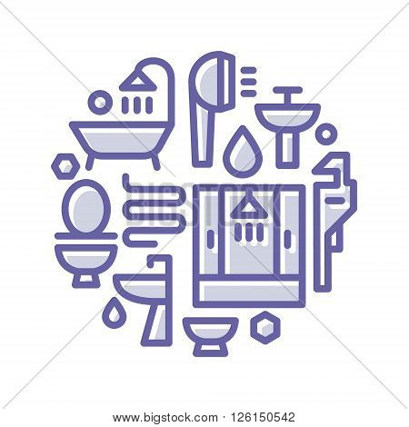 Icons logo plumbing, shower, toilet, bathtub, sink in a linear style flat lustration art