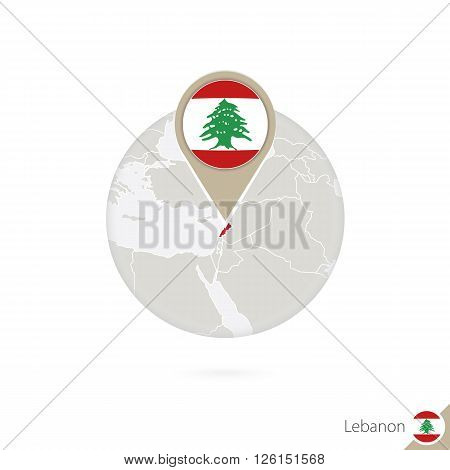 Lebanon Map And Flag In Circle. Map Of Lebanon, Lebanon Flag Pin. Map Of Lebanon In The Style Of The