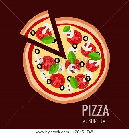Pizza piece icon background. Pizza icon flat design.  Flat illustration of pizza slice for pizza menu. Vector pizza  silhouette collection. Pizza icon. Pizza isolated  background. Pizza food