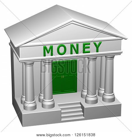 Concept : Money isolated on white background. 3D rendering.