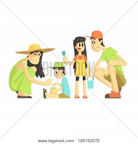 Family Of Four In Sandbox Flat Vector Simplified Childish Cartoon Style Illustration Isolated On White Background
