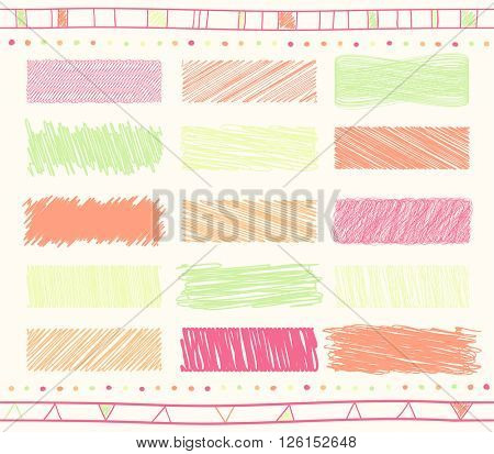 Vector collection of retro scribbled lines with hand drawn style of green and orange and magenta colors