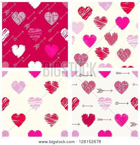 Set of retro different vector geometric seamless valentine patterns (tiling) with hearts and arrows. Endless texture can be used for pattern fills, web page background, surface and textile textures