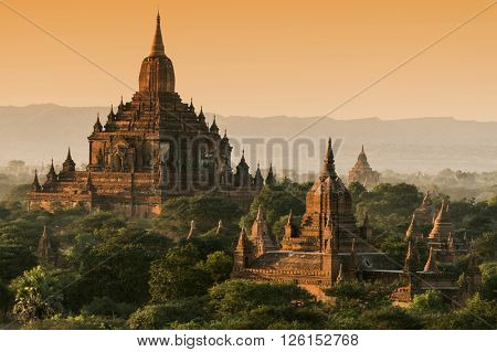 Late afternoon sun shines on the old Sulamani Temple of an ancient city of Bagan, Myanmar