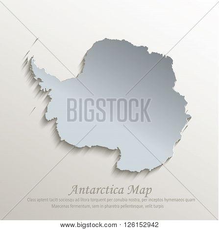 Antarctica map white blue card paper 3D vector