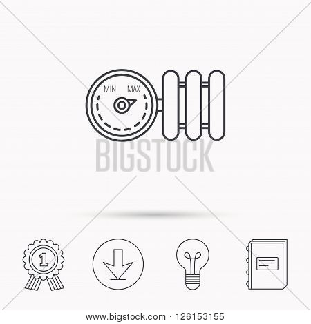 Radiator with regulator icon. Heater sign. Download arrow, lamp, learn book and award medal icons.