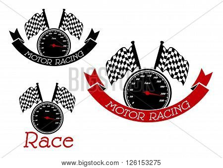 Speedometer with checkered race flags symbols for race sport and motor racing competition design, adorned by black and red ribbon banners