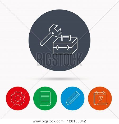 Repair toolbox icon. Wrench key sign. Calendar, cogwheel, document file and pencil icons.