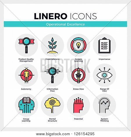Line icons set of business system operational excellence. Modern color flat design linear pictogram collection. Outline vector concept of mono stroke symbol pack. Premium quality web graphics material.