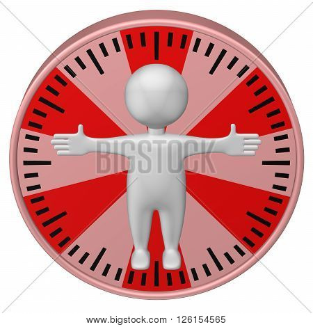 Concept : man-hour. 3d Man and clock face. Isolated on white background. 3D rendering.