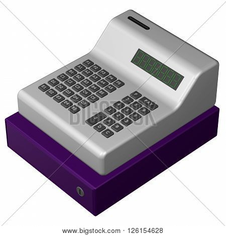 Old POS system isolated on white background. 3D rendering.