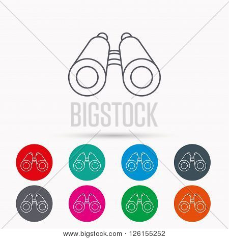 Search icon. Binoculars sign. Spyglass symbol. Linear icons in circles on white background.