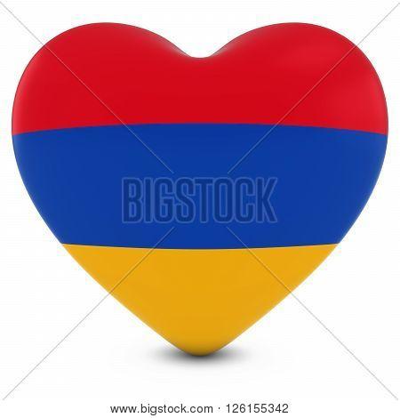 Love Armenia Concept Image - Heart Textured With Armenian Flag