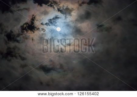 full moon and night sky with cloud